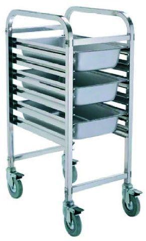 GN Regal-, Abräumwagen Chrom-Nickel-Stahl Breite-Tiefe-Höhe 38x55x174 cm -- Einschübe 15/30 für max. 15 Behälter 1/1 oder 30 Tabletts 1/1 Doppelschiene