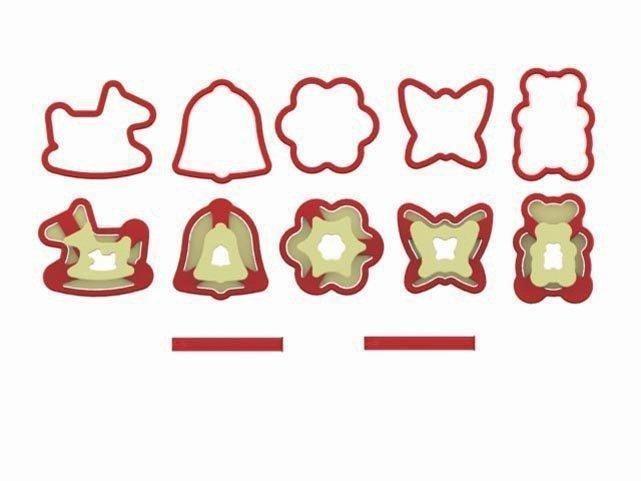 GSD-Haushaltsgeräte Linzer-Keksausstechformen Schaukelpferd, Glocke, Blume, Schmetterling und Teddybär