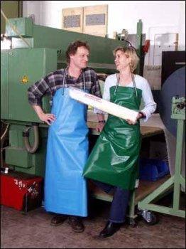 PVC-Schürze, Arbeitsschürze M3 Blau 80 x 100 cm...