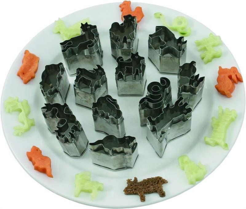 Ausstechformen Tiere 12 Tiere (Ratte/Büffel/Tiger/Hase/Drache/Schlange/Pferd/Schaf/Affe/Hahn/Hund/Schwein)