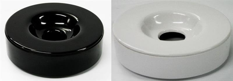 Windascher mit Deckel aus Melamin in schwarz oder weiß verfügbar