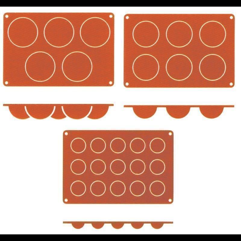 Silikon-Backmatte, HALBKUGEL mit 5 Formen