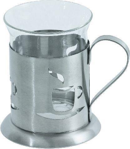 Teeglas mit Halter (Tasse) Inh. 0,20 Ltr. -- Ř 7 cm -- Höhe 9,5 cm